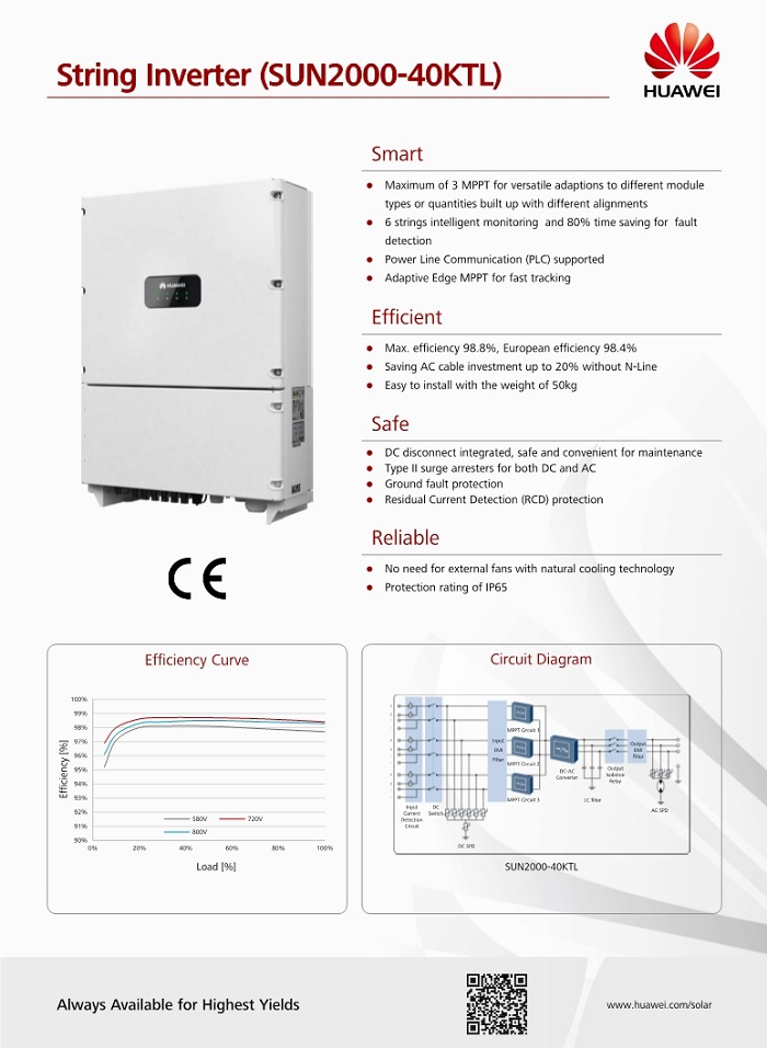Huawei intellectual pv series inverter sun2000-40ktl